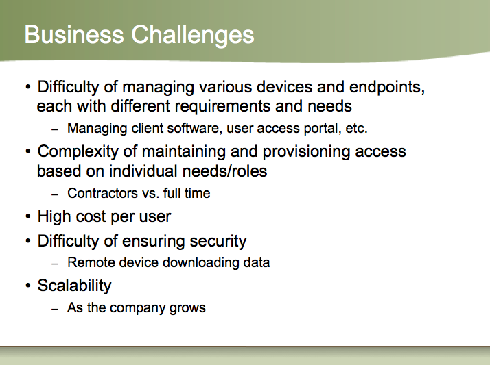 Business Challenges slide