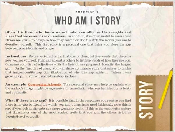 Exercise 1 Who Am I Story