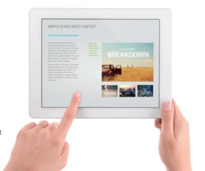 presentation slides on a tablet