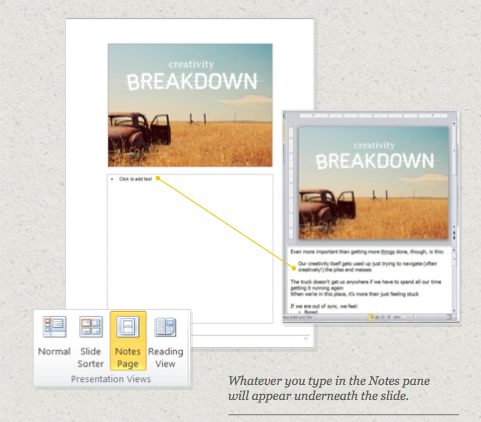 using Notes Page in PowerPoint