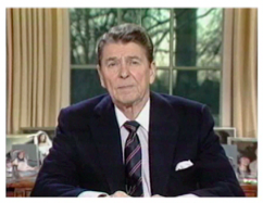 President Ronald Reagan speaking from Oval Office