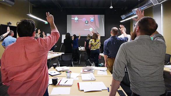 Slideology presentation workshop in progress