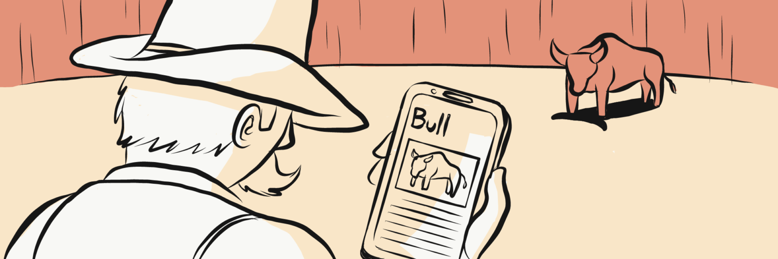 """A cowboy looking at his phone with """"Bull"""" on it, with a bull watching in the background"""