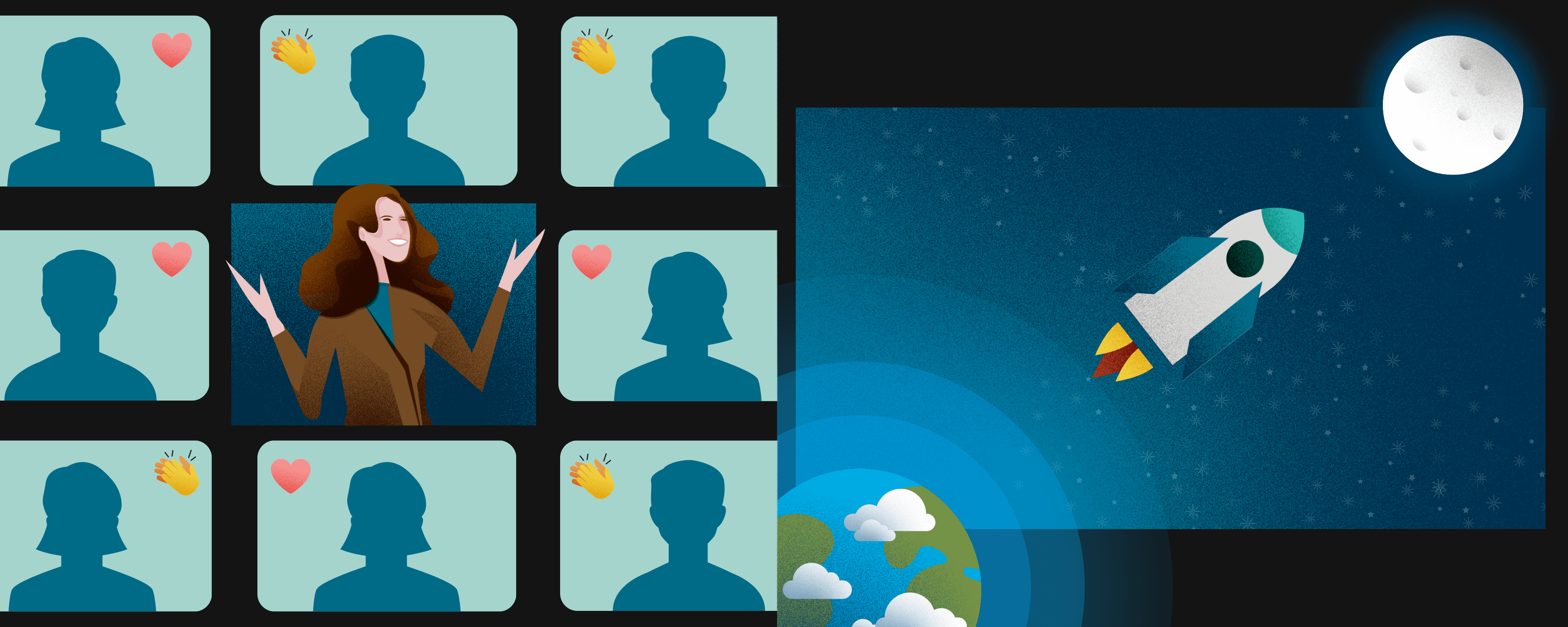 Woman engaging with a virtual audience, displaying a rocket leaving the earth and heading to the moon
