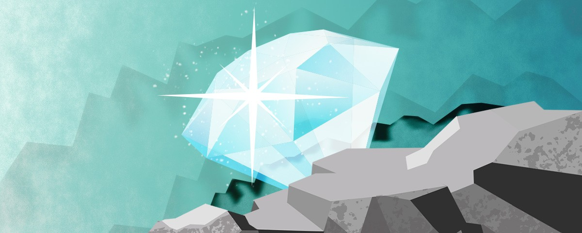 Diamond shining while sticking out of a rock