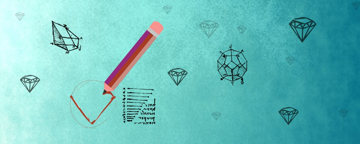 Pencil drawings of diamonds