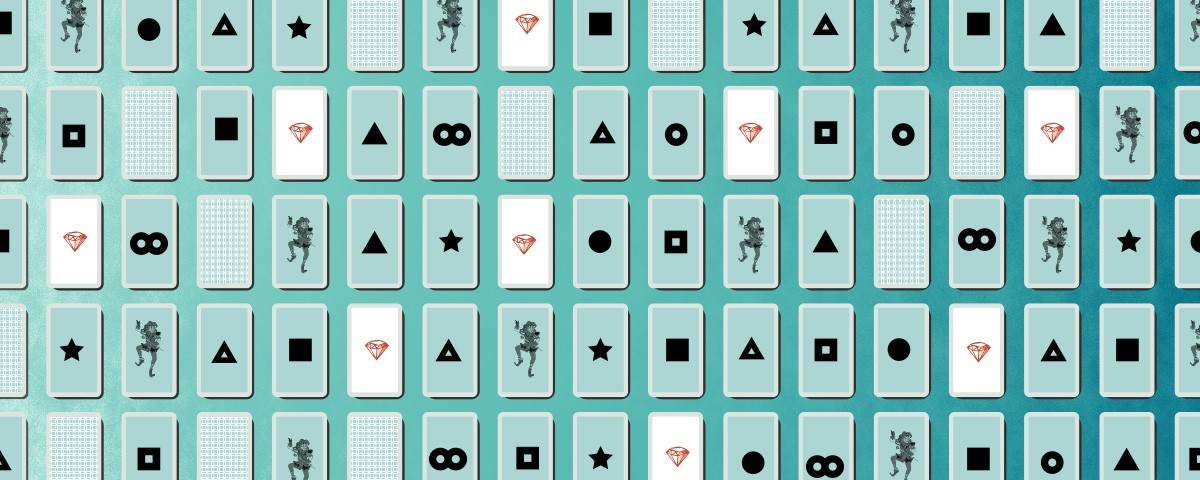 Deck of cards with diamonds, triangles, stars, squares