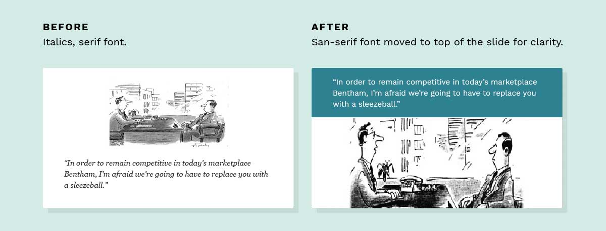 before and after slides - improved fonts