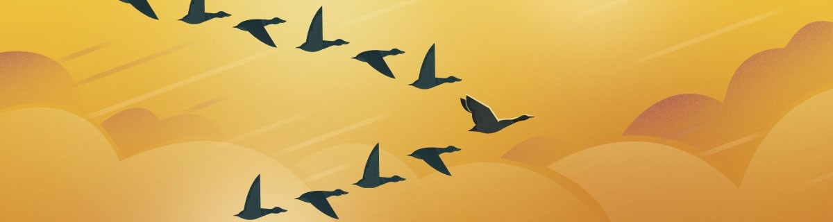 birds flying in formation - yellow background