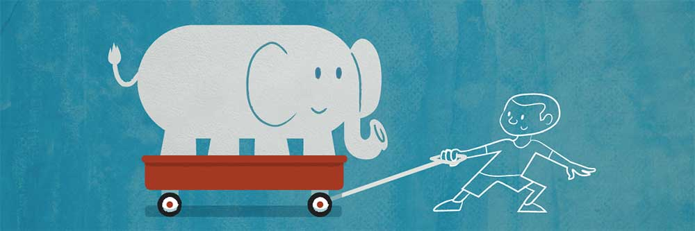 boy pulling elephant in wagon cartoon representing overcoming audience resistance practically