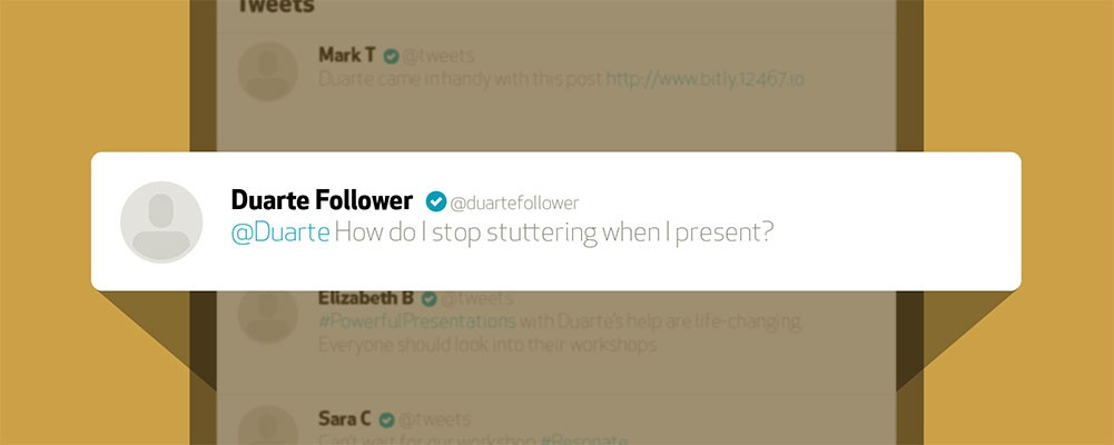 how to stop stuttering banner image - @duartefollower tweet