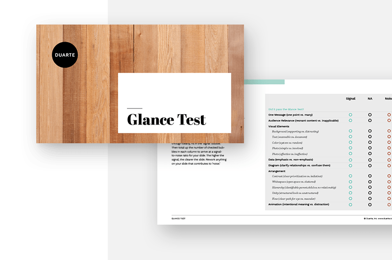 glance test slides
