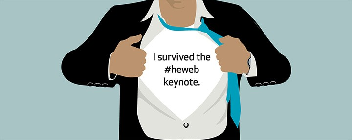 I survived the #heweb keynote shirt