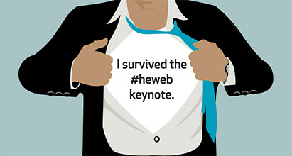 I survived #heweb keynote shirt