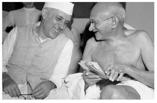 Jawaharlal Nehru and Mohandas Gandhi