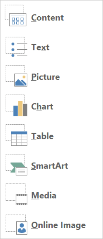 PowerPoint Insert Placeholder dropdown
