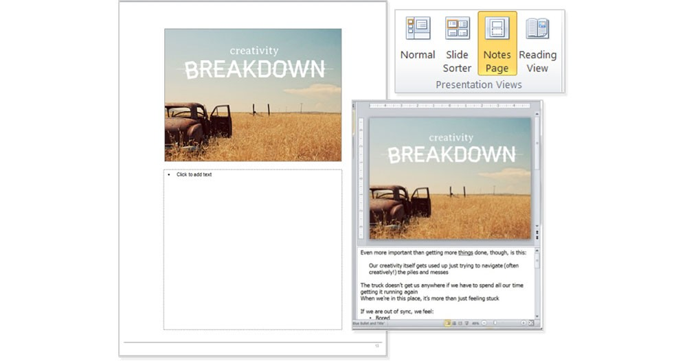 PowerPoint notes view to develop handouts