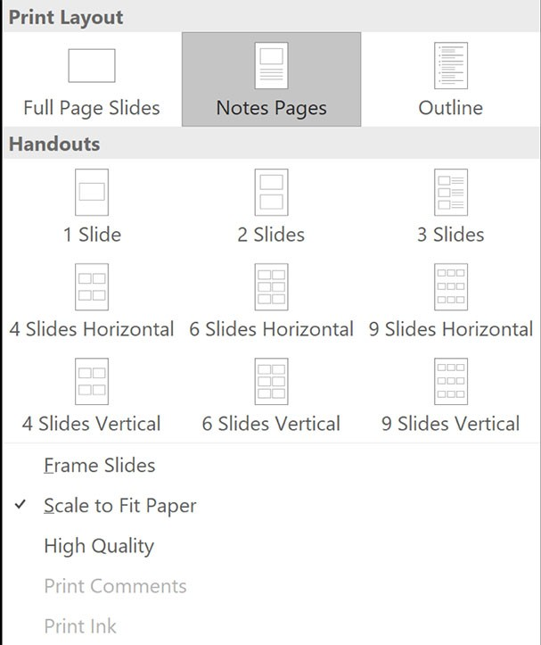PowerPoint print options