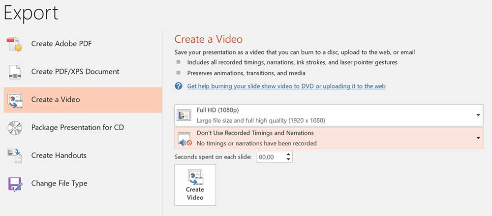 PowerPoint to video steps