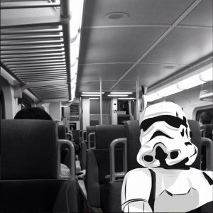 storm trooper on train