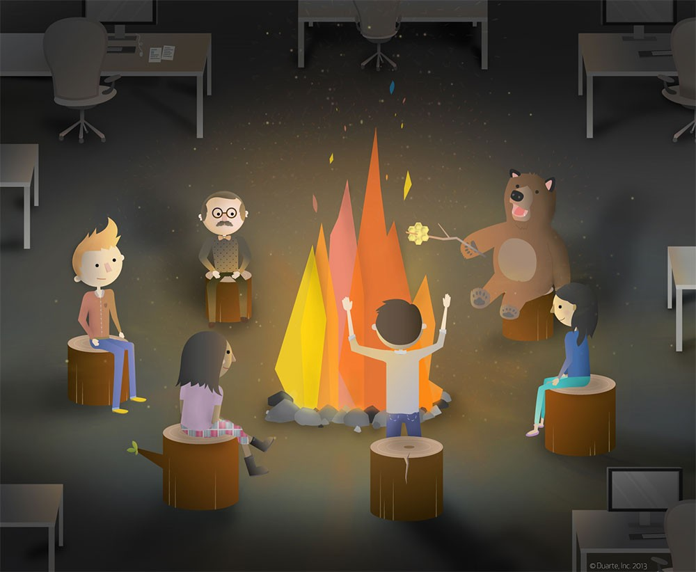 storytelling around campfire cartoon
